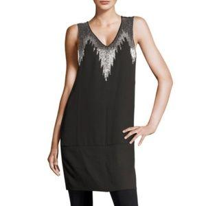 H & M Black Sleeveless Dress with Beaded Design